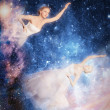 Постер, плакат: Magic lady Fabulous woman Starry Witch Lady of the planet and the universe Galaxy tales