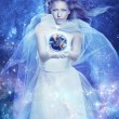 Magic lady. Fabulous woman. Starry Witch Lady of the planet and the universe. Galaxy tales. — Stock Photo