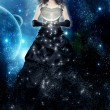 Woman night. Magic lady and fairy tale. Dreams and sleeping. Female star in the hands of the moon on a background of the galactic sky. Magic. — Stock Photo #41640775