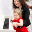Mother and daughter playing on white piano — Stock Photo #41350413