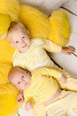 Two brothers  in dress yellow — Stock Photo
