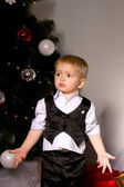 Boy in shirt and waistcoat exclaims — Stock Photo