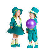 Children in costumes leprechaun, St. Patrick's Day — Stock Photo