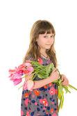 ładna dziewczyna kwiaty dla mamy — Zdjęcie stockowe