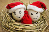 Happy eggs at Christmas — Stock Photo