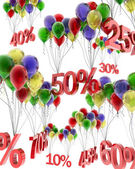 3d abstraction of discounts on balloons — Foto de Stock