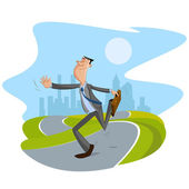 Businessman walking on road — Stock Vector