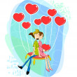 Love couple with heart shaped balloon — Stock Vector