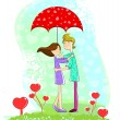 Love couple under umbrella — Stock Vector #41568935
