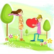 Stock Vector: Boy proposing girl