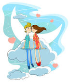 Love couple on cloud — Stock vektor