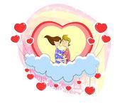 Αγάπη ζευγάρι συνεδρίαση στην καρδιά — Stockvektor