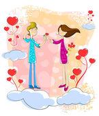 Proposing Love couple — Stock Vector