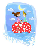 Love couple on heart shaped boat — Stock Vector