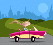Stylish girl driving car — Stock Vector
