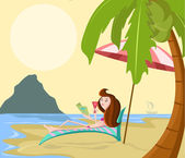 Girl on beach — Stock Vector