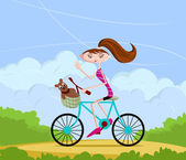 Girl cycling — Stock vektor