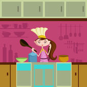 Girl cooking in kitchen — Stock Vector