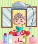 Beautiful girl curling her hair with rolle — Stock Vector