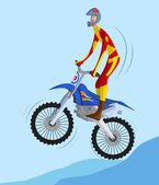 Biker making a stunt and jumps in the air — Stock Vector