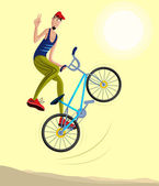 Cyclist making a stunt and jumps in the air — Stock Vector