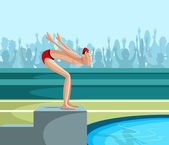 Swimmer diving into pool — ストックベクタ
