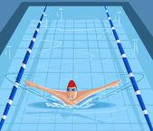 游泳者在游泳池里游泳 — 图库矢量图片