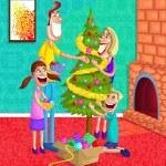 Happy family decorating Christmas Tree — Stock Vector #42662311
