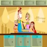 família feliz cozinhando na cozinha — Vetorial Stock