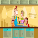 famiglia felice cottura in cucina — Vettoriale Stock