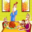 Happy family at dinner table — Stock Vector #42666977