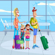 Happy family at airport — Stock Vector