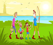 Happy family going for fishing — Stock Vector