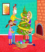 Happy family decorating Christmas Tree — Stock Vector