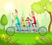 Happy family enjoying tandem bicycle ride — Stock Vector