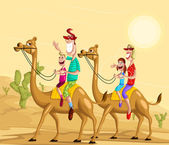 Happy family on camel ride — Vettoriale Stock