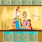 Happy family cooking in kitchen — Stock Vector