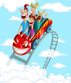 Happy family having fun ride — Stock Vector