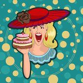 Retro lady with cake — Stock Vector
