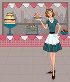 Retro lady in bakery shop — Stock Vector