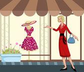 复古女士购物 — 图库矢量图片