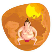 Sumo Wrestler — Stock Vector