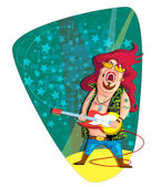 Rock star with guitar — Stock Vector