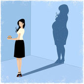 Slim woman casting fat woman shadow — Stock Vector