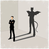 Gentleman casting shadow of evil — Stock Vector