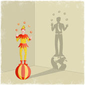 Juggling clown casting shadow of businessman — Stock Vector