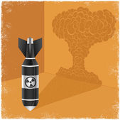 Nuclear bomb casting shadow of explosion cloud — Stock Vector
