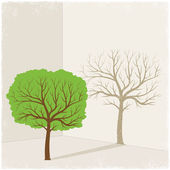 Green tree casting shadow of dry tree — Stock Vector
