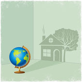 Globe casting shadow of house and tree — Stock Vector