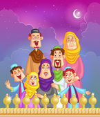 Happy muslim family wishing Eid mubara — Stock Vector